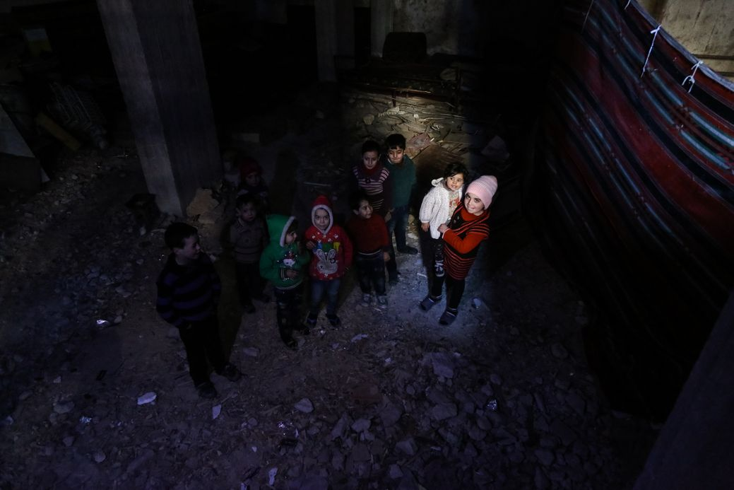 Photo by Salem Mdlala. Children in a basement in Ghouta.