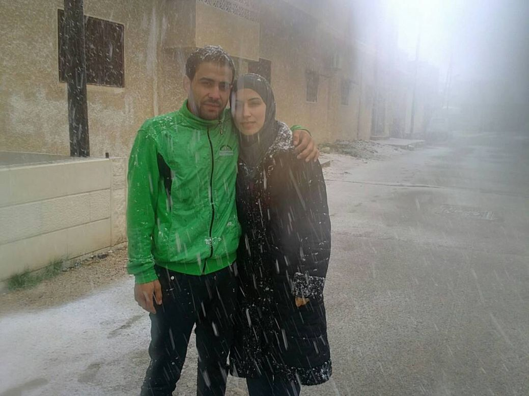 Photo by Salem Mdlala. Afraa and Salem together in Eastern-Ghouta.