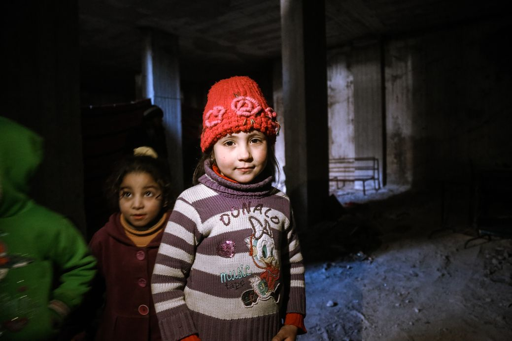 Photo by Salem Mdlala. Two girls in a basement in Ghouta.