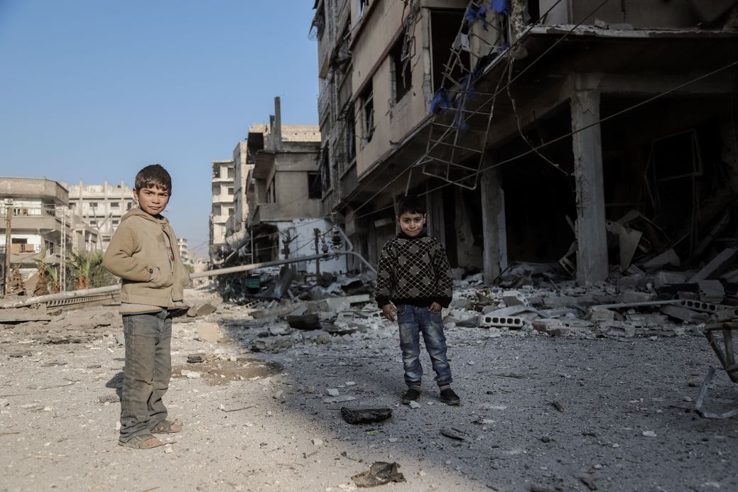 Photo by Salem Mdlala. Two boys in the ruins of Ghouta.